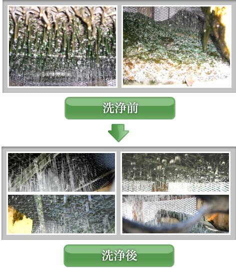 低環境負荷の洗浄剤「エコクリーナーブルー」 クーリングタワー洗浄