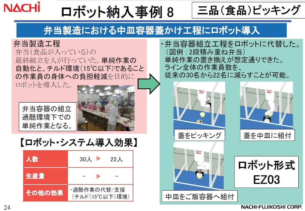不二越 食品工場向け!弁当容器組立ロボットシステム